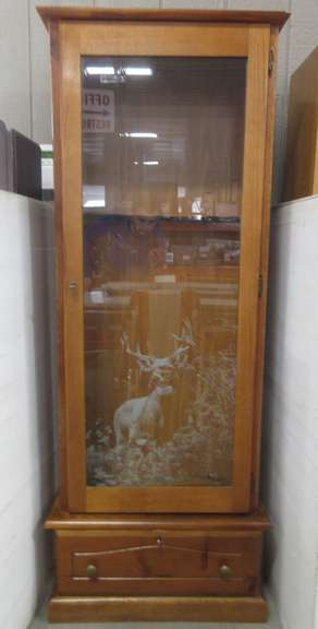 Knotty Pine Gun Cabinet, Has Six Slots and Drawer, Buck Stencil on Glass, Includes (2) Keys