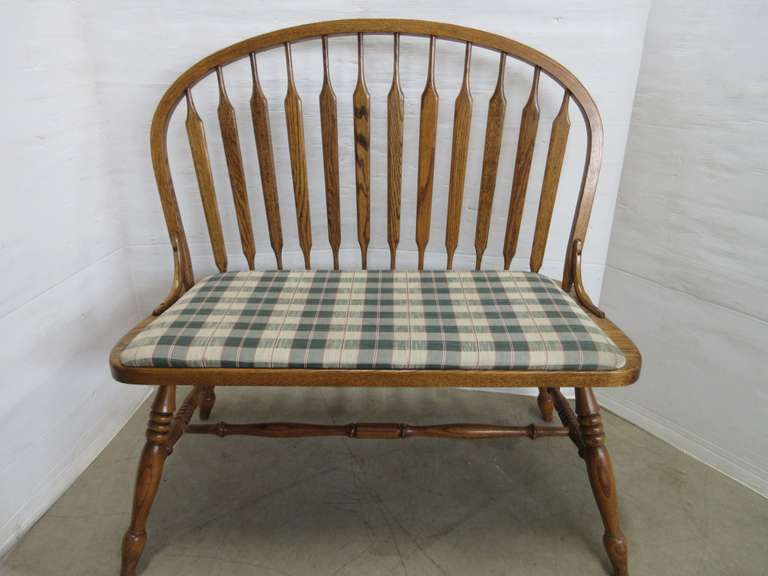 Oak Bench with Plaid Seat