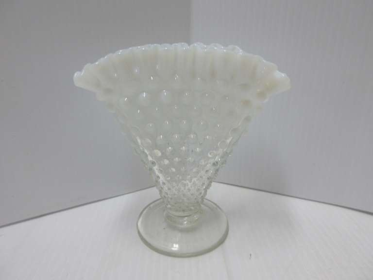Footed Hobnail Opalescent Ruffled Edge Fan Vase