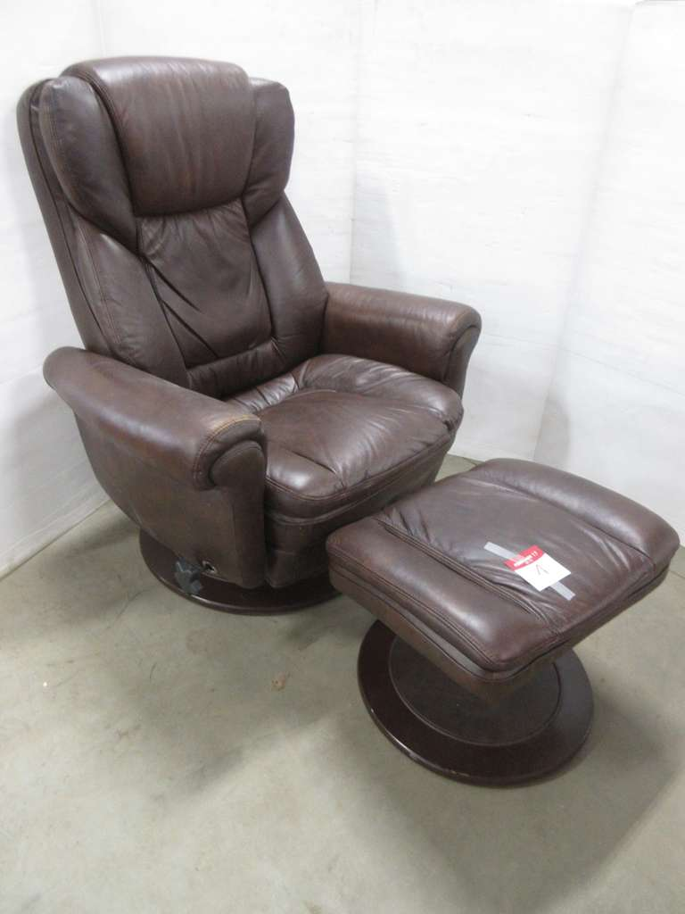 Brown Chair with Matching Ottoman