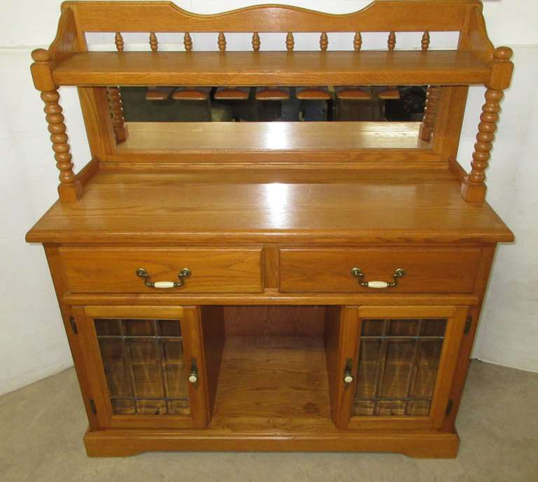 Oak Two-Piece Wine Rack Top Buffet, Leaded Glass Doors, Matches Lot No. 31