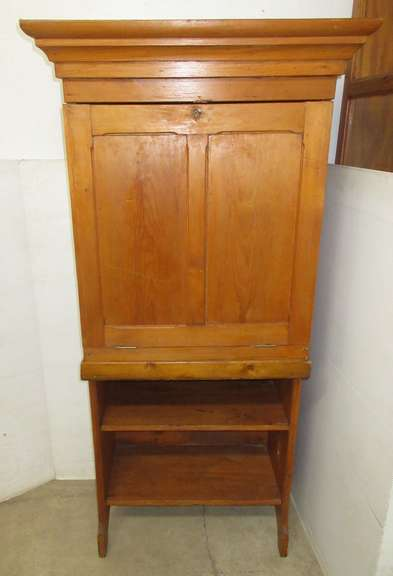 Antique Wood Drop Front Cubby Cupboard or Desk
