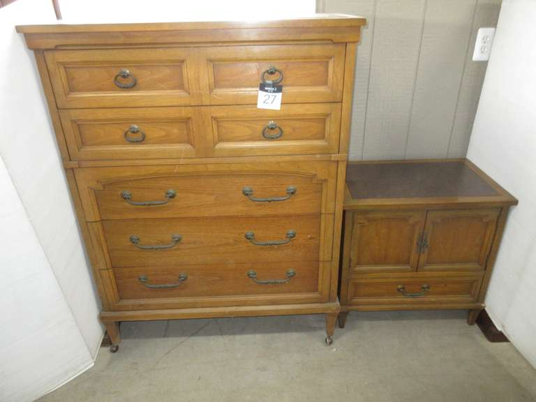 "Large Dresser, 38""W x 20""D x 50""H; Nightstand with Brown Leather Top, 25""W x 17""D x 25""H"