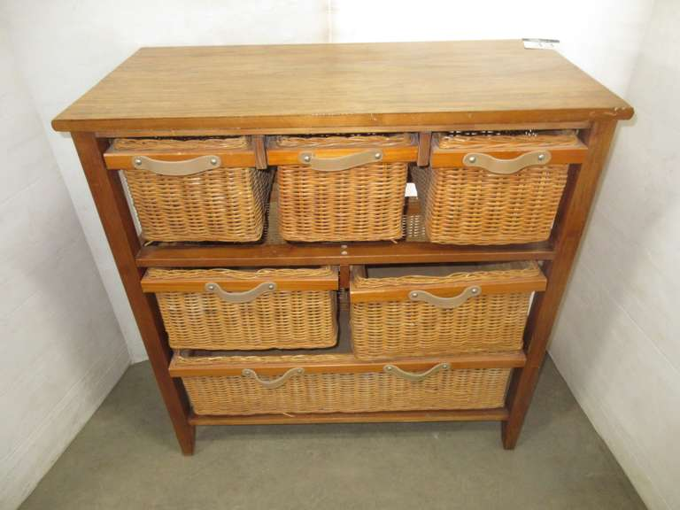 Stand with Six Wicker Drawers