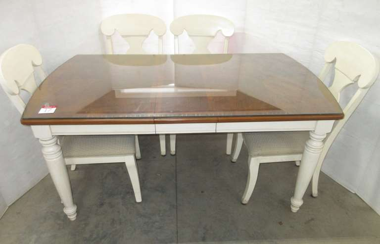 Cherry Dining Table with Glass Top, (4) Chairs, Leaf, and (2) Extra Upholstered Seats