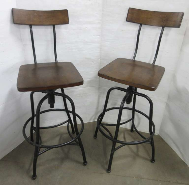 (2) Bar Stools with Wood Seat and Metal Base