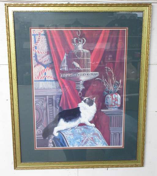 "Art Print Titled ""Surprise"" with Cat and Bird in a Birdcage, Wood Gilt Gold Frame, Made in the USA"