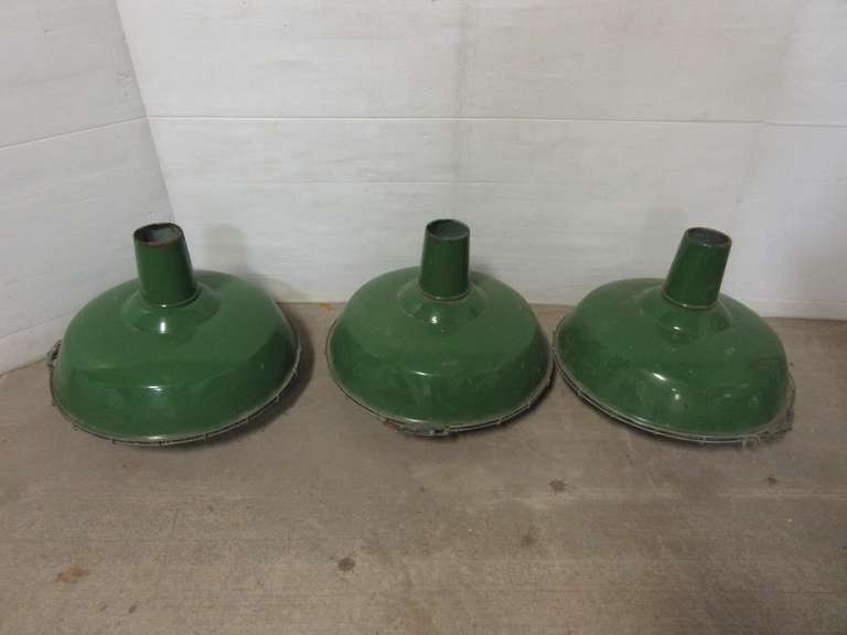 (3) Old Porcelain Gas Station Light Shades with Metal Cages