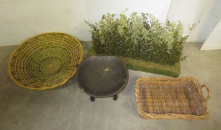 (2) Baskets, Older Stool/Plant Stand, and Faux Flower Centerpiece