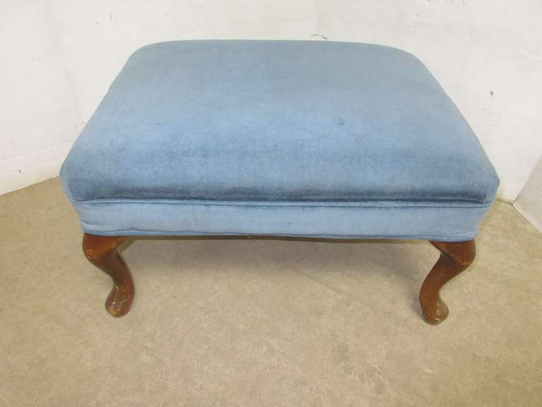 Blue Upholstered Footstool