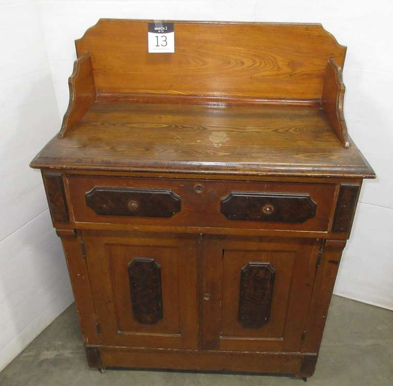 Antique Wash Basin/Hutch, Has Original Key for Locking Drawer and Lower Hutch, Drawer Knobs Included but Stripped, At Least 125 Years Old, Has One Shelf Inside, On Wheels, No Identifying Brand