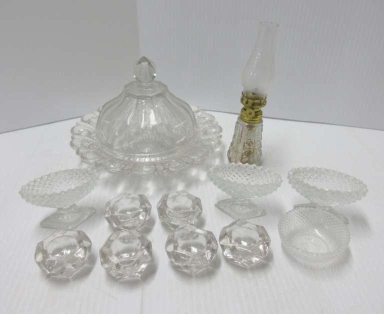 Antique Butter Dishes, Salt Dips, Mini Oil Lamp, and More