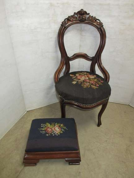 Padded Chair with Matching Padded Footstool
