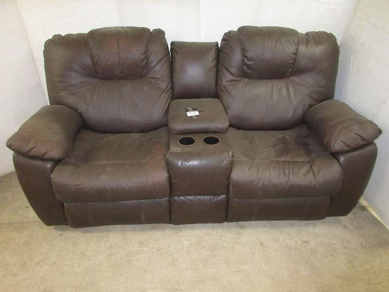 Brown Leather Double Recliner Loveseat with Storage in Middle