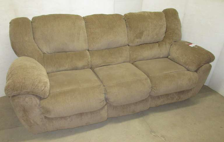 Brown Large Sized Living Room Reclining Sofa Couch, Recliners on Both Ends, Backs are Removable