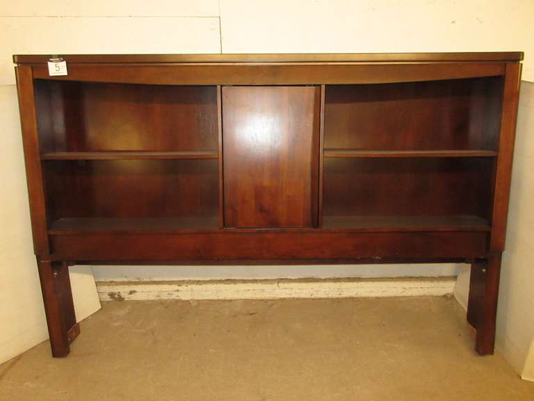 Dark Wood King Size Mission Style Bookshelf Bedroom Headboard, Matches Lot No. 4