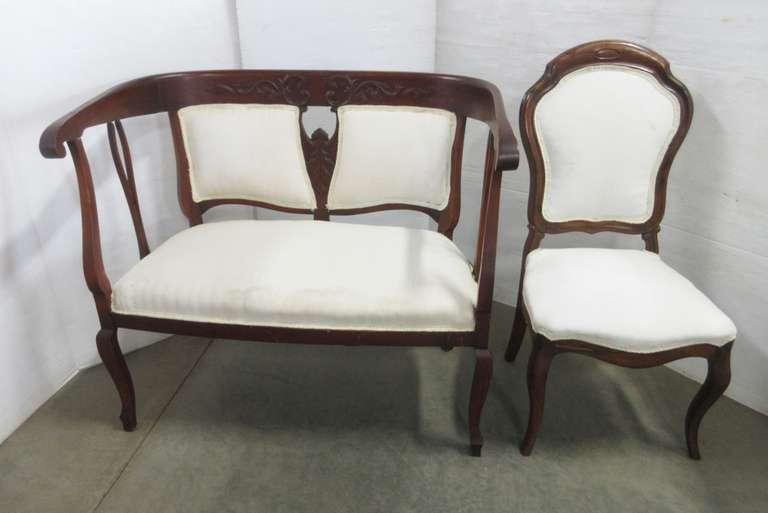 Antique Walnut Parlor Bench and Matching Chair, Bench has Wood Carvings