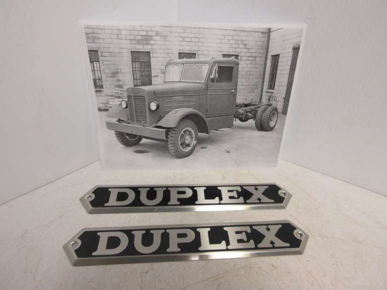 Matching Pair of Duplex Truck Hood Side Panel Emblems, Trucks Were Built in Lansing, MI and Went Out of Business in 1955