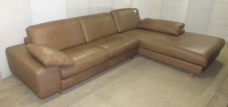 "Brown Genuine Leather Bianchi and Co. Living Room Two-Piece Sectional ""L"" Shaped Couch with Matching Leather Throw Pillows, Full Metal Chrome Based"
