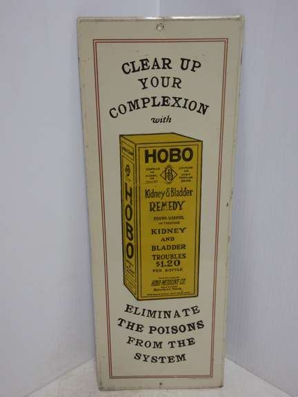 1974 Hobo Kidney and Bladder Metal Advertising Sign