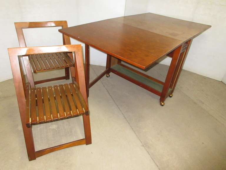 Bruno Madison Mid-Century Drop Leaf Table with Chairs Inside