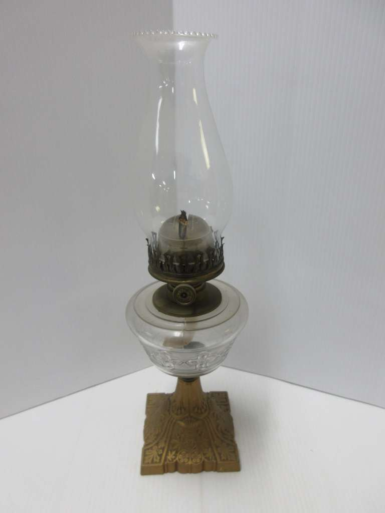 Antique Oil Lamp with Cast Iron Base, Glass Globe has Pat. Date of July 2, 1872