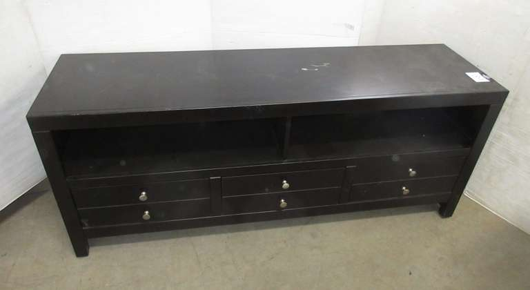 Black Six-Drawer Entertainment Center