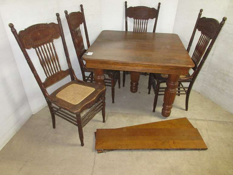 (4) Matching Antique Larkin No. 1 Chairs, 1908 Pressed Back, Hand Carved Seats and Table, All Original