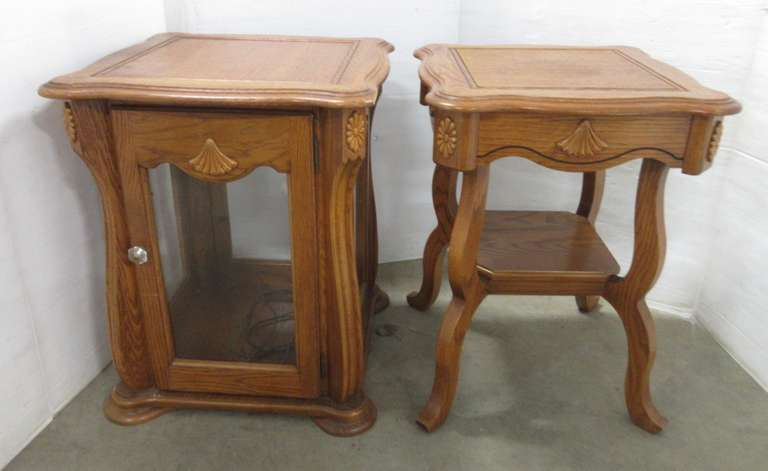 (2) Ornate End Tables, 1- with Glass and Light
