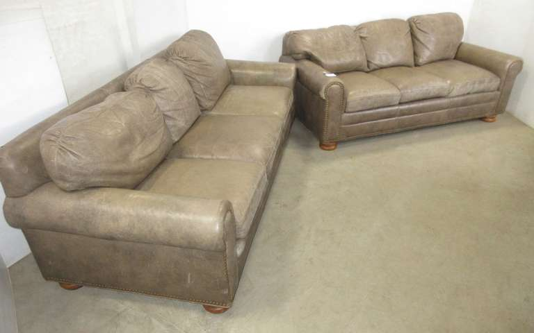 "Leather Couch, 83""W x 37""D x 29""H; Loveseat with Rivet Accents, 74""W x 37""D x 29""H"