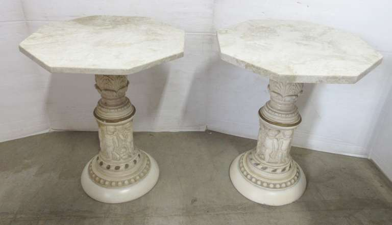 (2) Marble Tables, Victorian Design, Very Heavy