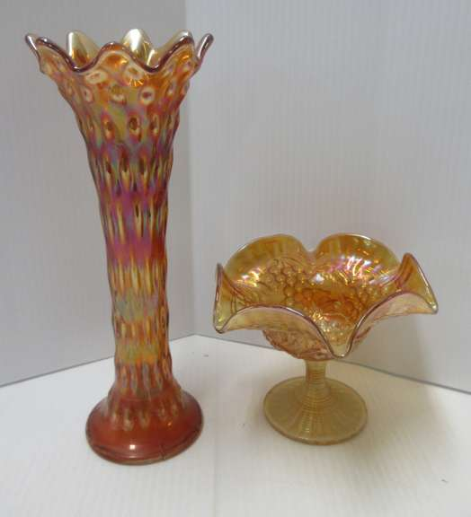 Old Cardinal Glass Imperial Grape Compote and Marigold Vase