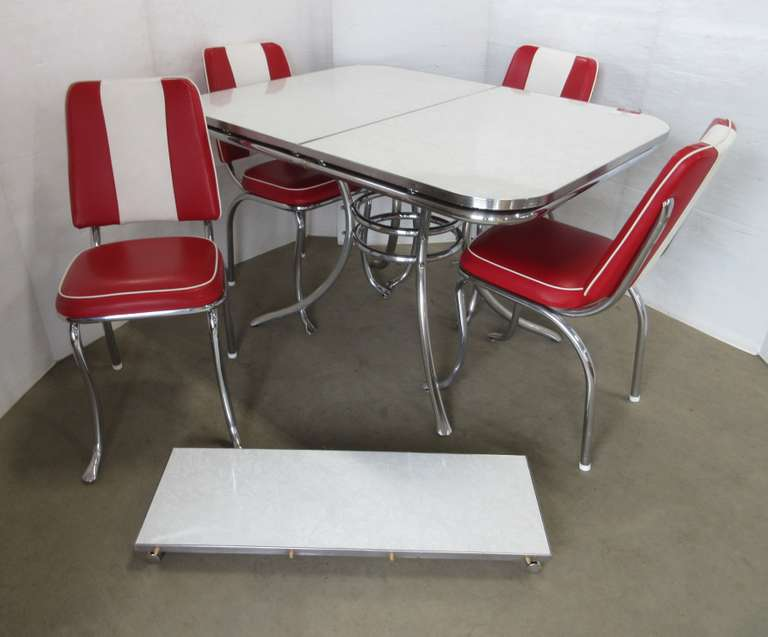 1950s Kitchen Master Chrome Table and Chairs with Leaf, Not a Reproduction