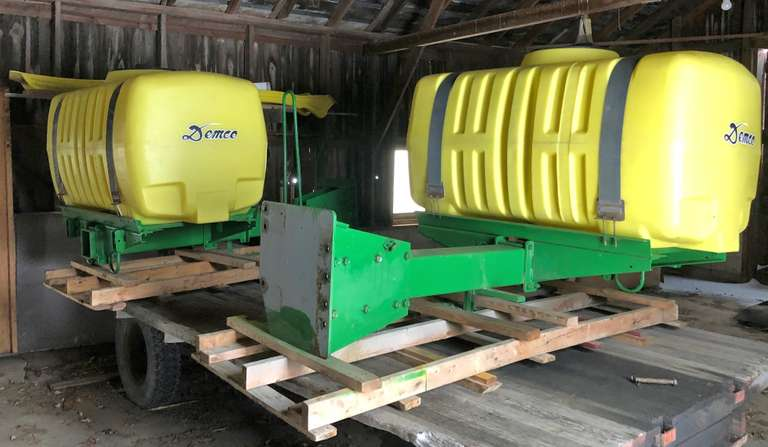 2008 Demco In-Line Saddle Tanks (300-Gallons Each, 600 Total), Brackets fit John Deere 8000 and 8000R Series
