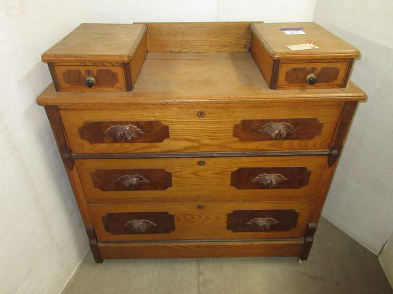 Victorian Ash Dresser with Hankie Drawers, Burled Walnut Accents with Carved Fruit Pulls