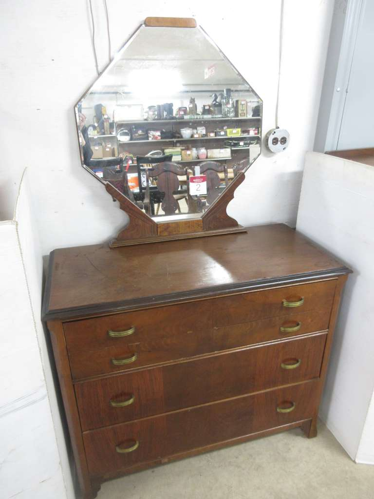 Antique Four-Drawer Dresser with Beveled Mirror, Matches Lot Nos. 3 and 4
