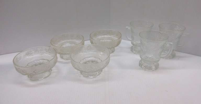 "(4) Pinecone Clear Glass Bowls, 5""Dia; (3) Coffee Cups, Pinecone, 4 1/2""H"