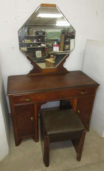 Antique Dressing Table, Crescent Furniture Co., Warren, PA, Has Beveled Mirror and Stool with Storage under Seat, Matches Lot Nos. 2 and 3