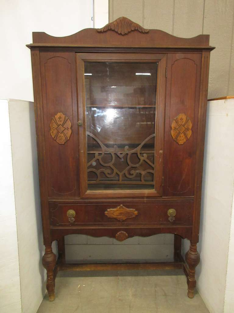 Antique Wooden China Cabinet with Glass Door and Shelves, Has a Large Drawer, Matches Lot No. 8