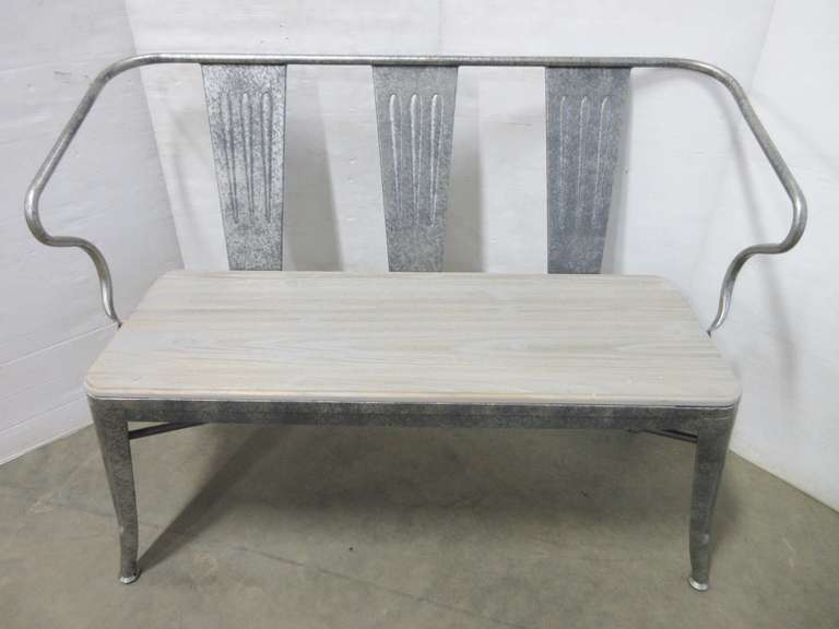 Metal Bench with Wood Seat