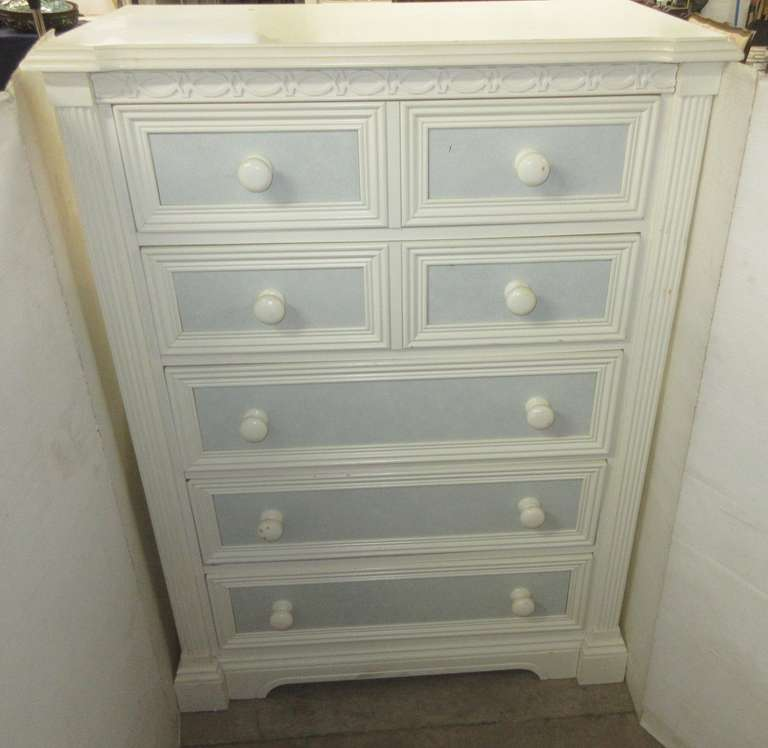 Tall Five-Drawer Lexington Furniture Off-White/Sky Blue Bedroom Dresser, Matches Lot Nos. 24 and 25