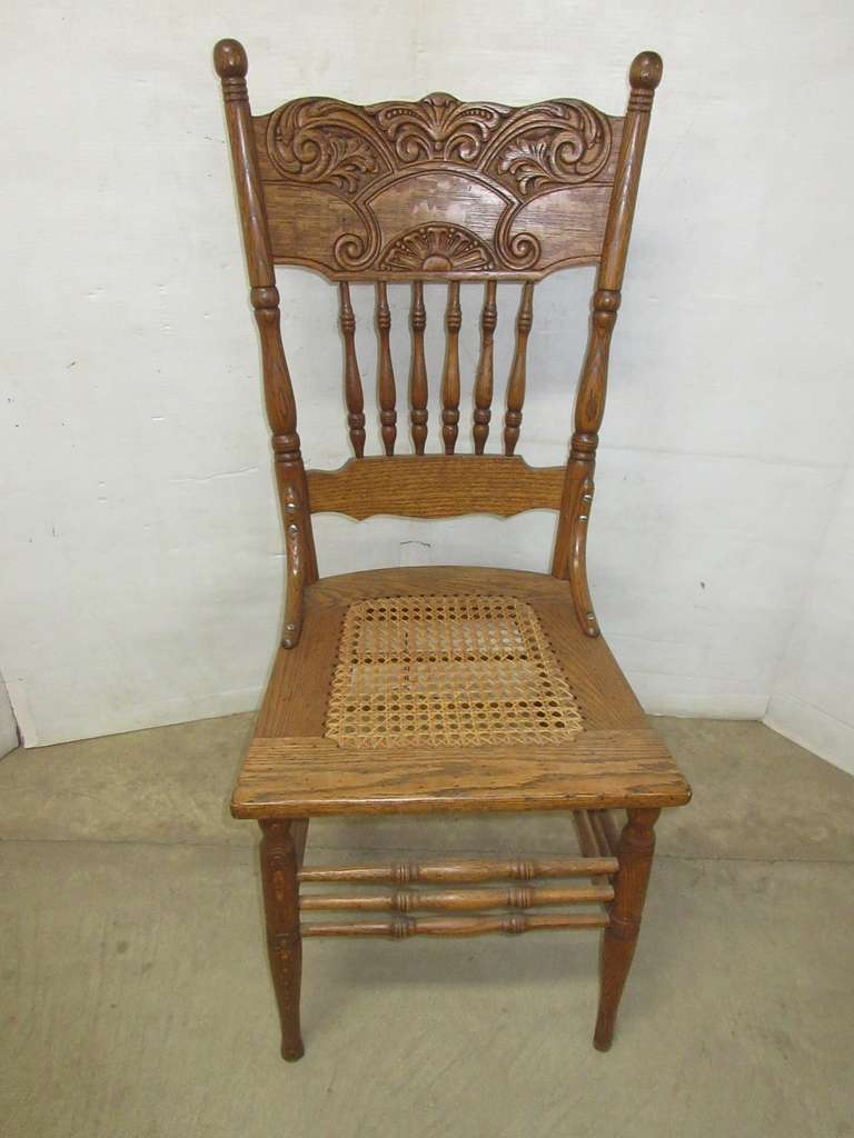 Oak Pressback Chair with Cane Seat
