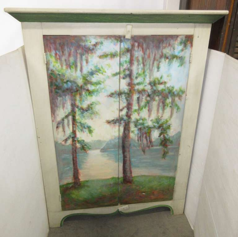 "Large Two-Door Hand Painted Bedroom/Living Room Accent Armoire, Painted by Artist Gloria Moni Pipkins, Titled, ""Florence Marina on the Chattahoochee"", Signed on Inner Door"