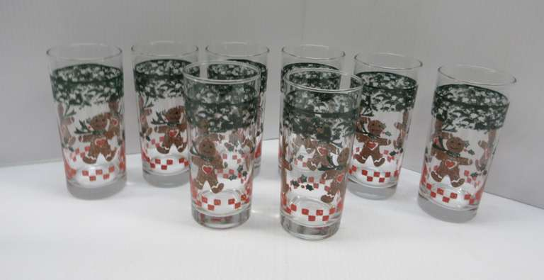 (8) Older Gingerbread Man Collectible Glasses, 12 oz.