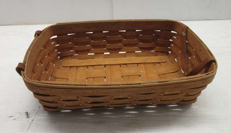 Longaberger Basket, Handwoven, Two Leather Straps, 1990