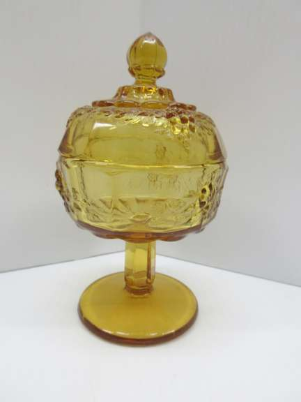 Amber Glass Covered Candy Dish, Flower Pattern, Compote Style