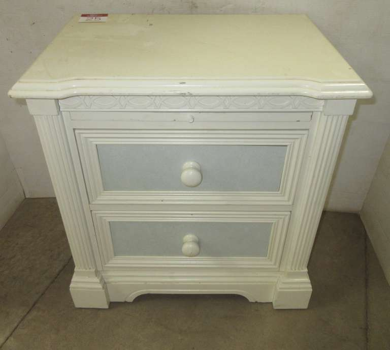 Lexington Furniture Two-Drawer Off-White/Sky Blue Bedroom Nightstand/End Table with Upper Pull Out Writing Area, Matches Lot Nos. 23 and 24