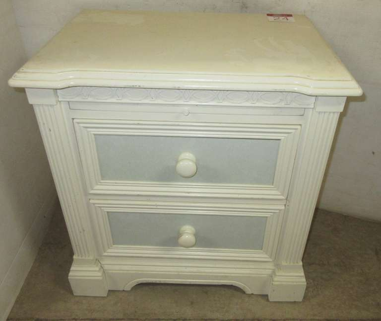Lexington Furniture Two-Drawer Off-White/Sky Blue Bedroom Nightstand/Writing Area, Matches Lot Nos. 23 and 25