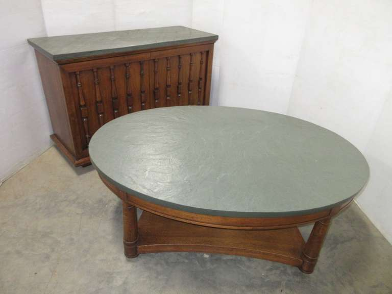 Matching Slate Topped Table and Cabinet