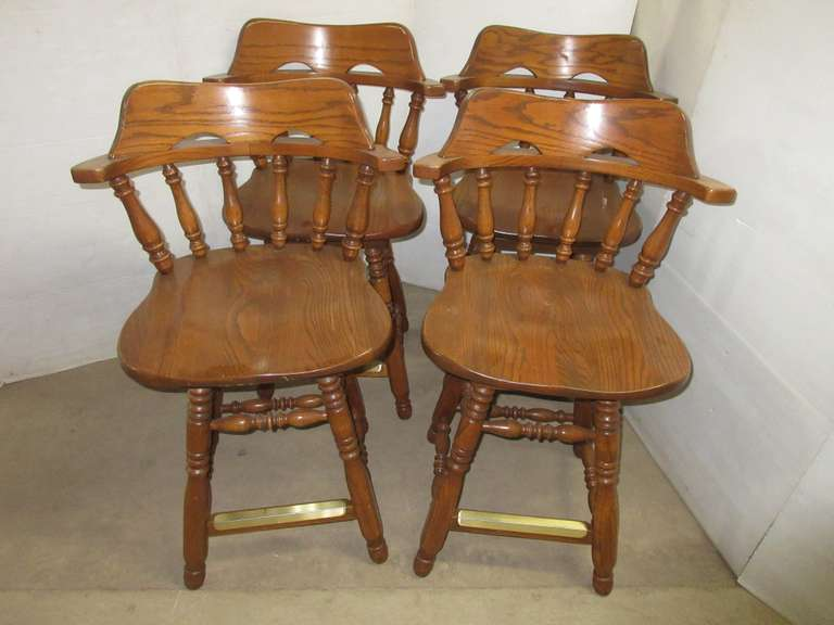 Set of (4) Wooden Swivel Bar Stool Chairs